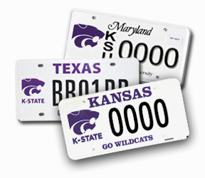 Official K-State License Plates: Kansas, Maryland, Texas